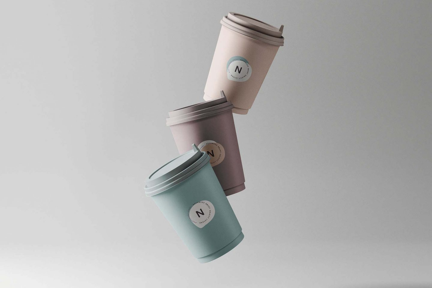 Floating coffee cups mockup
