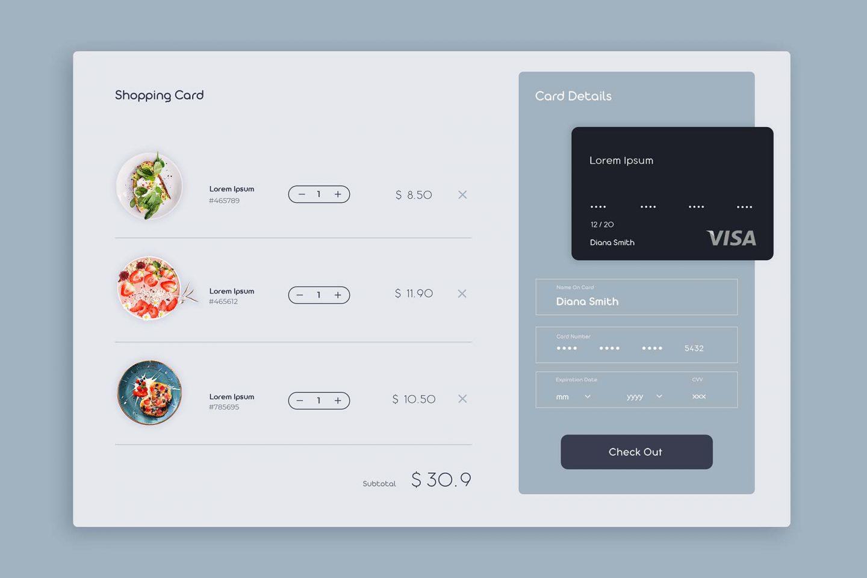 Restaurant Shopping Cart UI