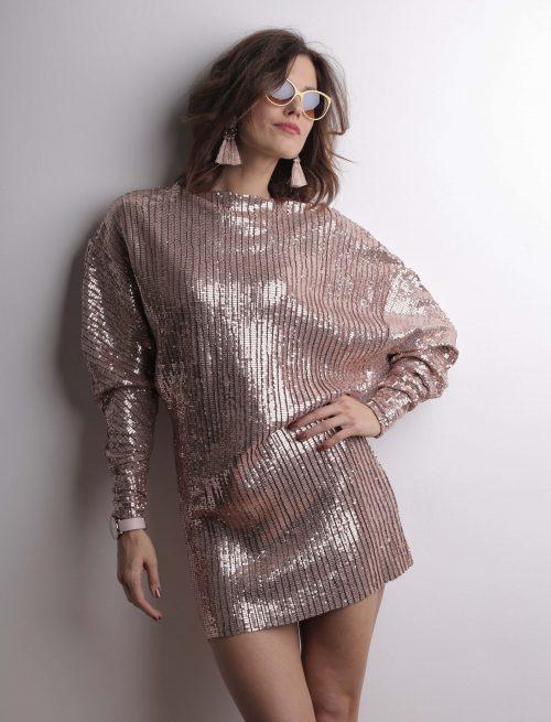 Metal Pink Sequin Dress